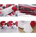 Romantic Red Rose Ring Print 4-Piece Duvet Cover Sets