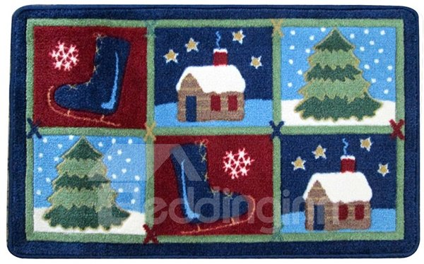 Festival Christmas Theme Cottage and Christmas Tree and Boots Patchwork Anti-Slipping Doormat