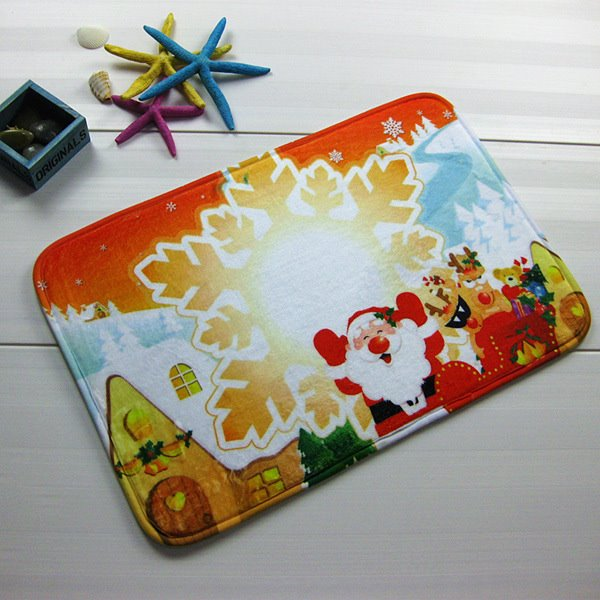 Christmas Snowflake and Santa Claus Anti-Slipping Doormat