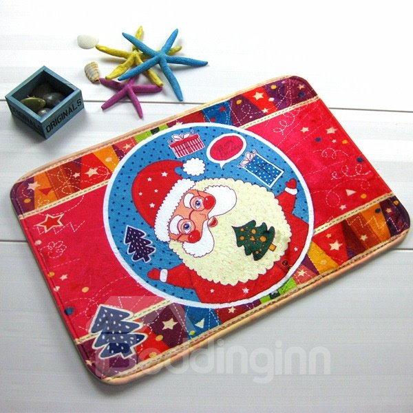 Festival Christmas Theme Bearded Santa Claus Anti-Slipping Doormat