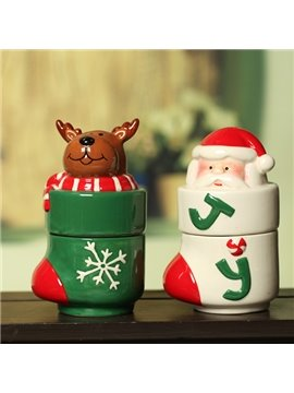 Christmas Theme Seasoning Jar Santa Claus and Reindeer Design Desktop Decoration
