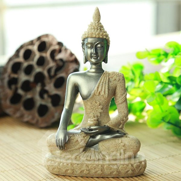 Religious Resin Buddha in Lotus Position Desktop Decoration