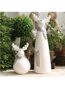 Christmas Theme Smiling Lovely Ceramics Reindeer Sculpture Desktop Decoration