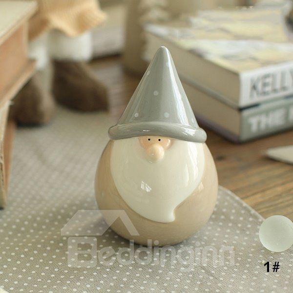 Christmas Theme Ceramics Long White Beard Santa Desktop Decoration