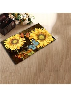 Gorgeous Butterfly and Yellow Flowers Pattern Anti-Slipping Doormat
