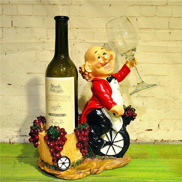 Creative Chef Riding Single Wheel Resin 1-Bottle 1-Cup Wine Rack