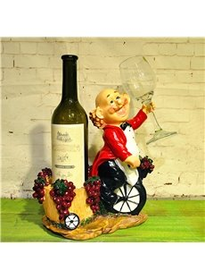 Creative Chef Riding Single Wheel Resin 1-Bottle 1-Cup Wine Rack