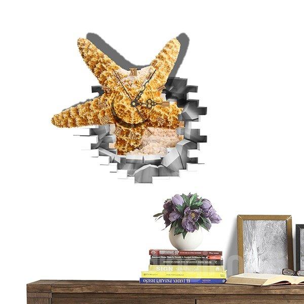 Creative 3D Starfish Through Wall Design Wall Clock