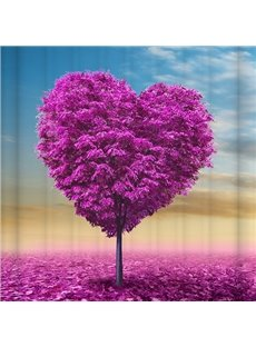 Graceful Unique Purple Flower Heart 3D Shower Curtain
