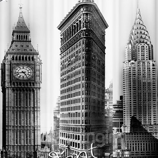 Black and White Big Ben Print Waterproof Shower Curtian