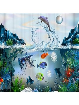 Vivid Submarine World Design 3D Print Shower Curtain