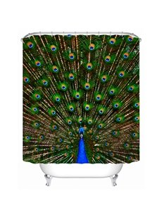 High Class Vivid Peacock Design 3D Shower Curtain