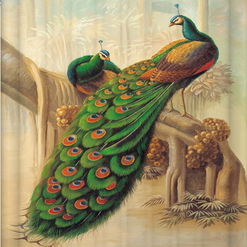 Couple Peacocks Standing In An Old Tree Printing 3d Shower