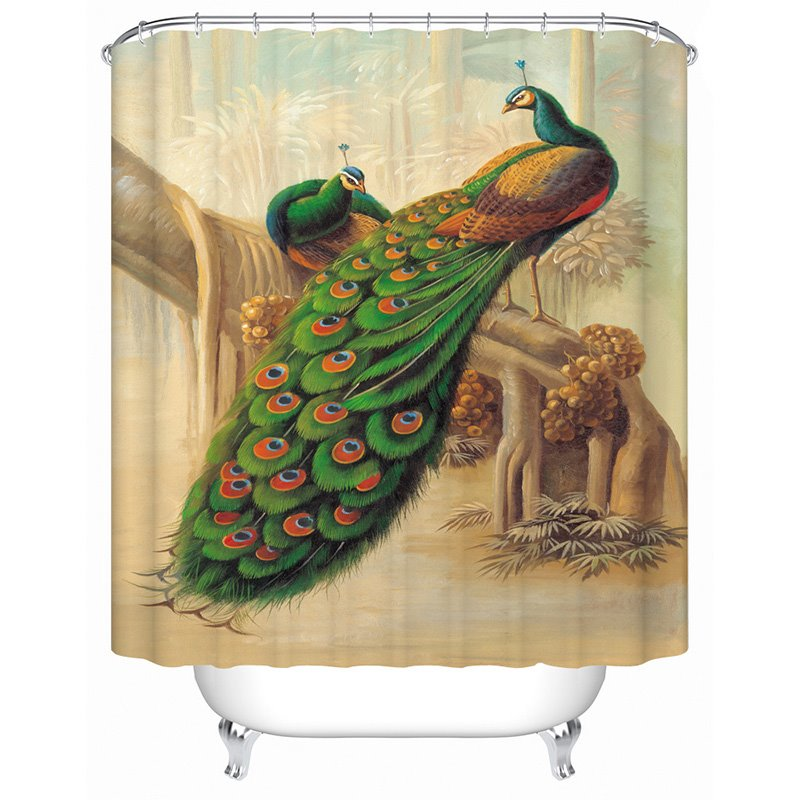 Couple Peacocks Standing in an Old Tree Printing 3D Shower Curtain