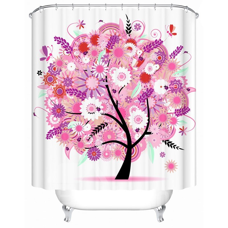 Top Selling Graceful Floral Tree Image 3D Shower Curtain