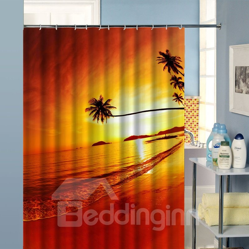 Popular 3D Tropical Beach Image Shower Curtain