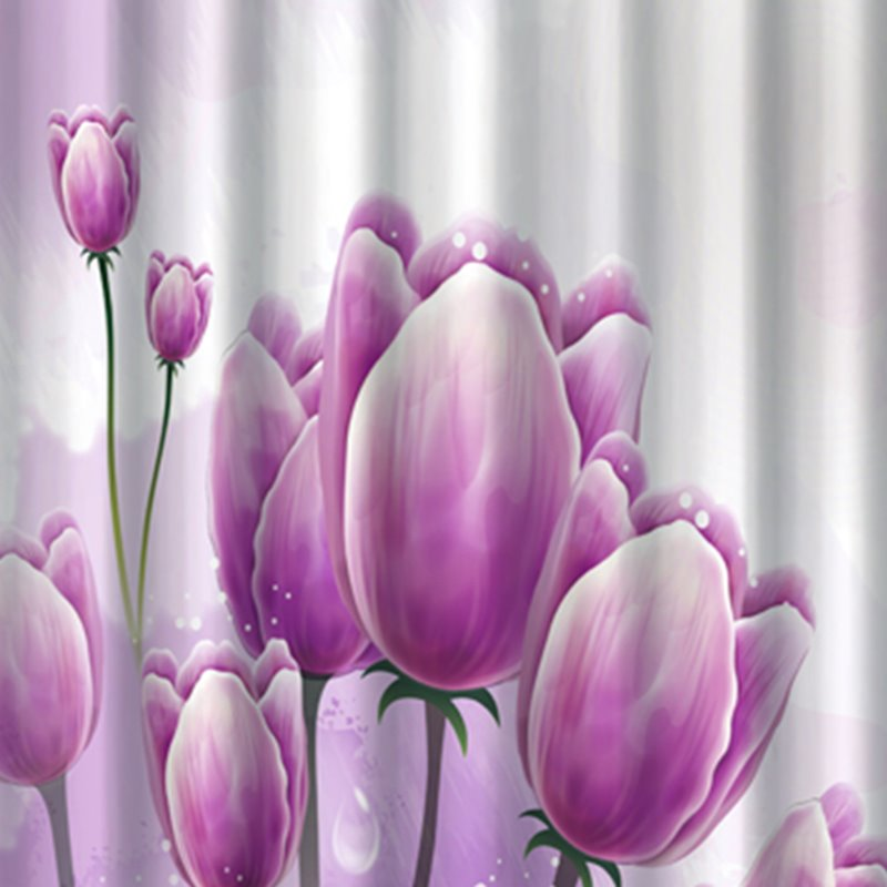 Pretty Unique Purple Flower Image 3D Shower Curtain