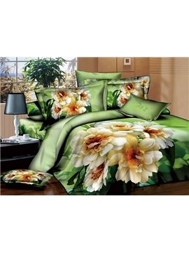 White Blooming Flowers Design Green 4-Piece Cotton Duvet Cover Sets