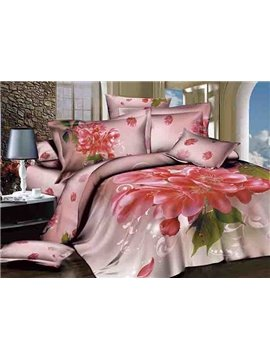 Hot Selling Pink Flowers Design 4-Piece Cotton Duvet Cover Sets