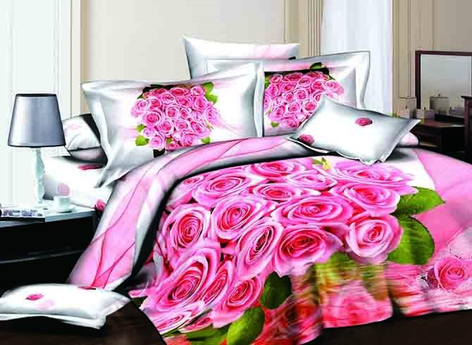 Fancy Romantic Pink Roses Print 4-Piece Pink Duvet Cover Sets