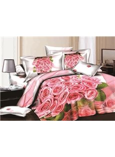 Fancy Romantic Pink Roses Print 4-Piece Pink Duvet Cover Sets
