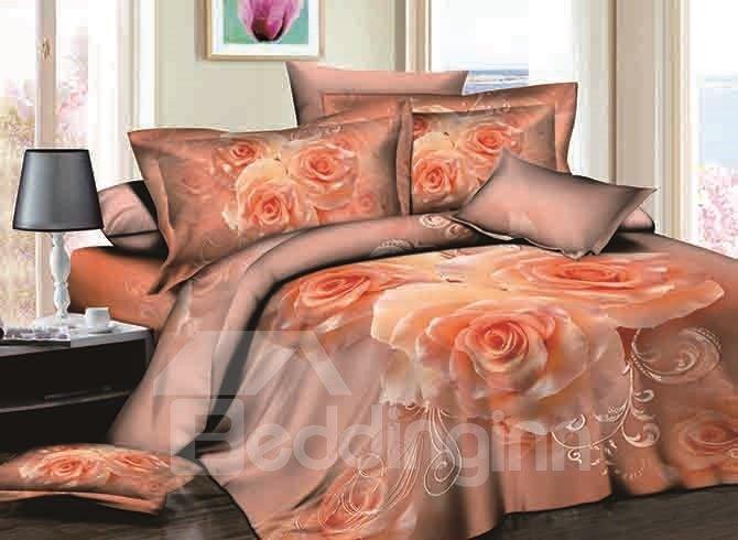 Romantic Apricot Rose Reactive Printing 4-Piece Cotton Duvet Cover Sets