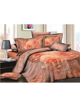 Romantic Apricot Rose Reactive Printing 4-Piece Cotton Duvet Cover Sets