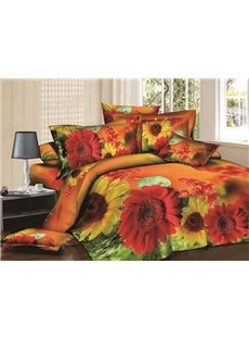 Delicate Red and Yellow Coreopsis Print 4-Piece Cotton Duvet Cover Sets