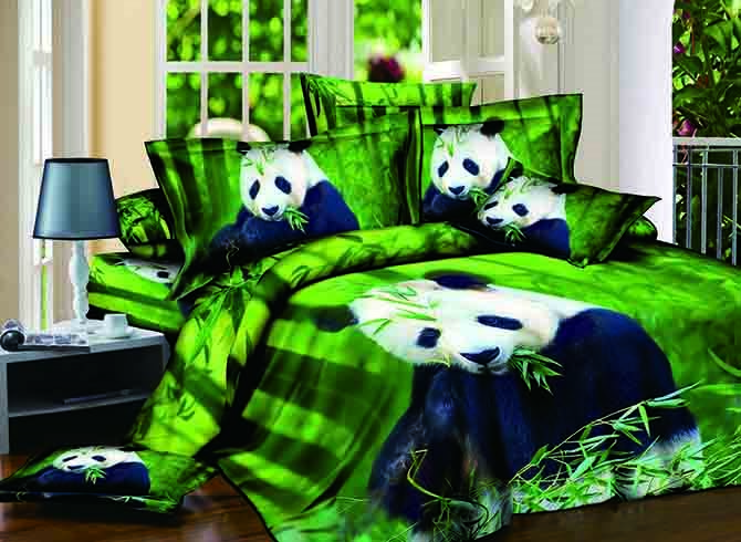 Cute Panda Eating Bamboo Print Green 4-Piece Cotton Duvet Cover Sets