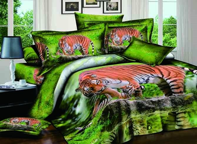 Wandering Tiger Print Cotton 4-Piece Green Duvet Cover Sets