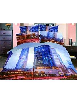 Modern City Scenery Print 4-Piece Cotton Duvet Cover Sets