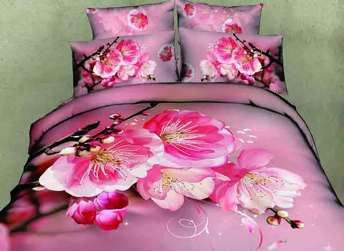 3D Pink Peach Blossom and Bud Printed Cotton 4-Piece Bedding Sets/Duvet Covers 11484582