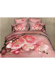Pink Peach Blossom Print Cotton 4-Piece Duvet Cover Sets