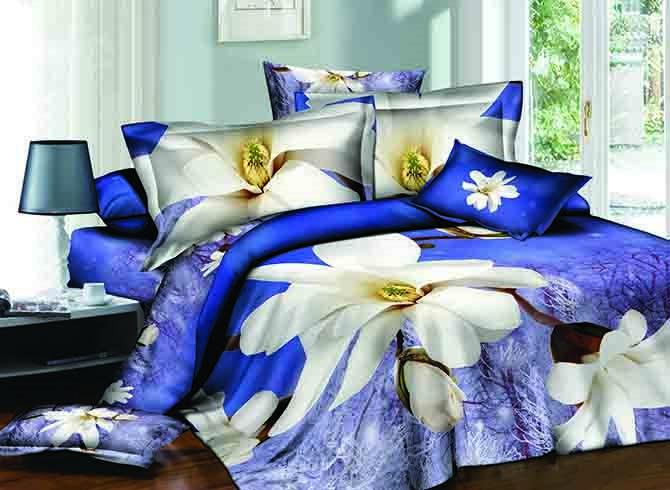 Elegant White Flowers Print Blue 4-Piece Cotton Duvet Cover Sets