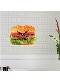 Mouth-Watering Hamburger Design 3D Sticker Wall Clock