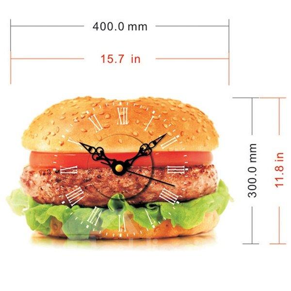 Mouth-Watering Hamburger Design 3D Sticker Wall Clock