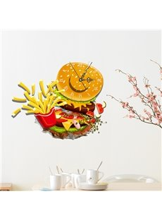Mouth-Watering Fast Food Chips and Hamburger Design 3D Sticker Wall Clock