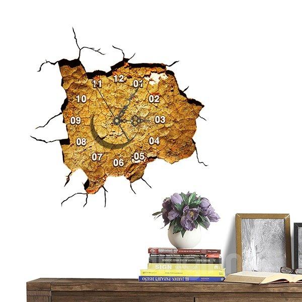Creative Broken Wall 3D Sticker Wall Clock