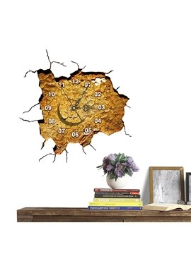 Creative Broken Wall 3D Sticker Wall Clock