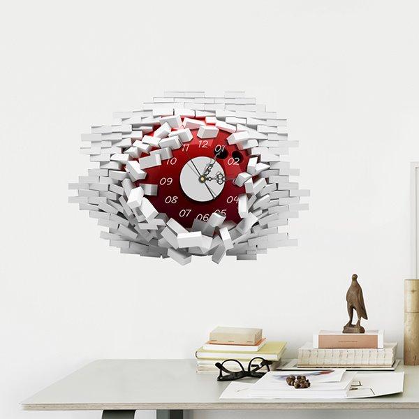 Amazing Brick Wall Hole 3D Sticker Wall Clock