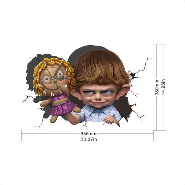 Naughty Kid Holding a Doll 3D Sticker Wall Clock