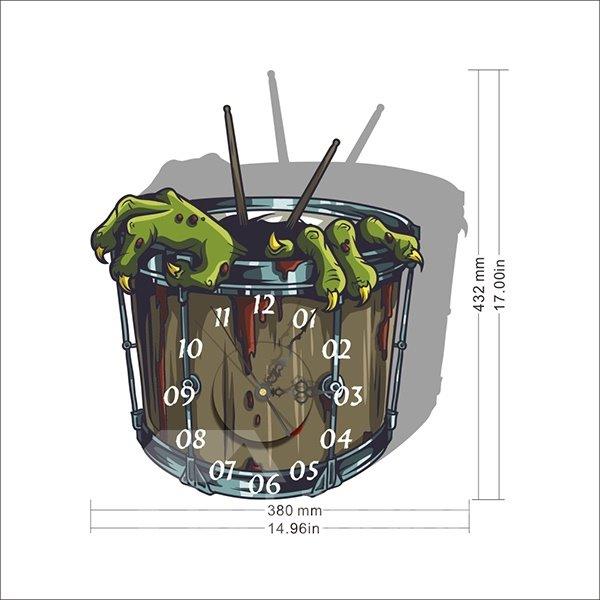 Horror Green Gremlin Claw 3D Sticker Wall Clock