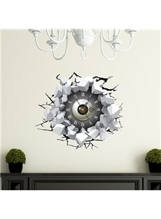 Broken Wall Eyeball 3D Sticker Wall Clock