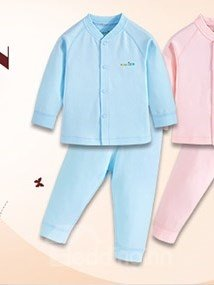 100% Cotton Solid Color 2-Piece Baby Pajamas