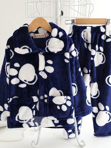 Adorable Animal Footprints Pattern Flannel Kids Pajamas