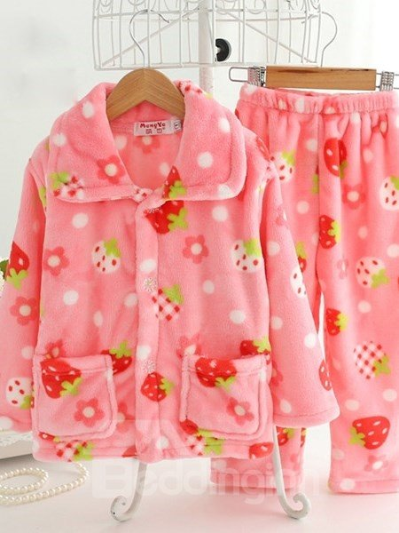 Adorable Strawberry Pattern Warm Flannel Kids Pajamas