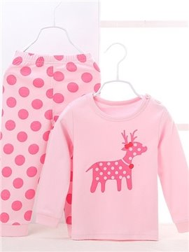 Chic Polka Dot Pattern and Deer Print Kids Pajamas