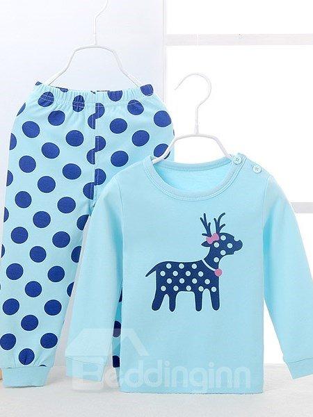 Chic Polka Dot Pattern and Deer Print Kids Pajamas