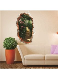 Wall Hole View Green Forest Lane with Trees and Flowers Removable 3D Wall Sticker