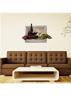 Vintage Wine and Fresh Grapes Removable 3D Wall Sticker